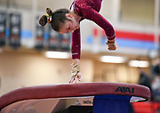 Roosevelt's Anna Matrisciano performs a handspring halfway in a gymnastics meet on Saturday, Jan. 30, 2021, at Lincoln High School in Sioux Falls.