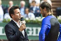 June 2, 2017 - Paris, Frankreich - Paris, 02.06.2017, Tennis - French Open 2017, Fabrice Santoro (L) und Rafael Nadal (ESP, R) im Interview nach dem Spiel  (Credit Image: © Pascal Muller/EQ Images via ZUMA Press)