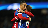 Football - 2017 / 2018 UEFA Champions League - Round of Sixteen, Second Leg: Manchester City (4) vs. FC Basel (0)<br /> <br /> Leo Lacroix of FC Basel and Fabian Frei of FC Basel celebrate at The Etihad.<br /> <br /> COLORSPORT