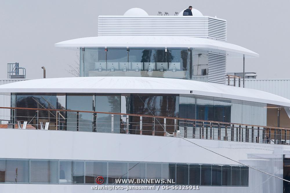 NLD/Aalsmeer/20121029 - Venus, het jacht van wijlen Apple oprichter Steve Jobs op de werf van Koninklijke de Vries Scheepsbouw in Aalsmeer