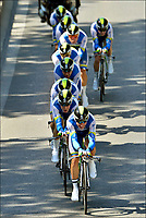 Sykkel<br /> 02.07.2013<br /> Tour de France<br /> Foto: PhotoNews/Digitalsport<br /> NORWAY ONLY<br /> <br /> NICE, FRANCE - JULY 02: Orica Greenedge Cycling Team with Matthew Harley Goss (Australia / Orica Greenedge Cycling Team) in front, during the team time trial of the fourth stage of the 2013 Tour de France with start and finish in Nice on July 02, 2013 in Nice, France.