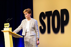 Glasgow, Scotland, UK. 27th November 2019. First Minister of Scotland Nicola Sturgeon launches the SNP's general election manifesto at  SWG3 studio warehouse in Glasgow. Her address had the message that Scotland had to be protected from Boris Johnson and Brexit. Iain Masterton/Alamy Live News.
