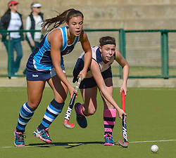 Georgia Moir of Springfield  and Angie Welham of Herschel during day two of the FNB Private Wealth Super 12 Hockey Tournament held at Oranje Meisieskool in Bloemfontein, South Africa on the 7th August 2016, <br /> <br /> Photo by:   Frikkie Kapp / Real Time Images