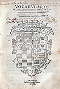 Title page of 'Vocabulary in Castilian and Mexican Language' by Alonso de Molina, Mexico, 1572, the first dictionary printed in the New World. Molina (c1514-1579) Spanish Franciscan priest and grammarian.