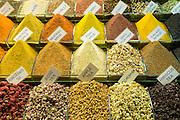 Traditional speciality tea and spices in the Misir Carsisi Egyptian Bazaar food and spice market in Istanbul, Turkey