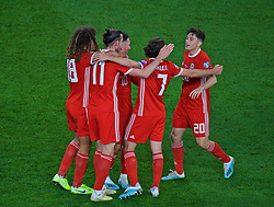 CARDIFF, WALES - Friday, September 6, 2019: Wales' captain Gareth Bale (#11) celebrates scoring the first goal with team-mates Ethan Ampadu, Joe Allen and Daniel James during the UEFA Euro 2020 Qualifying Group E match between Wales and Azerbaijan at the Cardiff City Stadium. (Pic by Paul Greenwood/Propaganda)