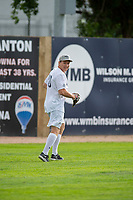 KELOWNA, CANADA - JUNE 28: AHL player Curtis Lazar warms up in the field prior to the opening charity game of the Home Base Slo-Pitch Tournament fundraiser for the Kelowna General Hospital Foundation JoeAnna's House on June 28, 2019 at Elk's Stadium in Kelowna, British Columbia, Canada.  (Photo by Marissa Baecker/Shoot the Breeze)