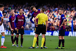 March 30, 2019 - Barcelona, BARCELONA, Spain - 03 Gerard Pique of FC Barcelona talking to the referee during the ''Derby'' of La Liga match between FC Barcelona and RCD Espanyol in Camp Nou Stadium in Barcelona 30 of March of 2019, Spain. (Credit Image: © AFP7 via ZUMA Wire)