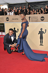 Alvina Stewart and Anthony Anderson arrives at the 24th annual Screen Actors Guild Awards at The Shrine Exposition Center on January 21, 2018 in Los Angeles, California. <br /><br />(Photo by Sthanlee Mirador/Sipa USA)