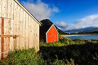 Norway, Lofoten. Coastal landscape at Hov, at the northern part of Gimsøy.