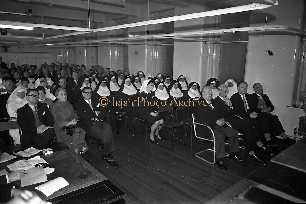 11/02/1963<br /> 02/11/1963<br /> 11 February 1963<br /> Official opening and Blessing of the National Medical Rehabilitation Centre, Our Lady of Lourdes Hospital, Rochestown Avenue, Dun Laoghaire, Co. Dublin. Staff and guests present at the opening.