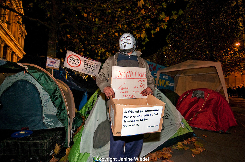 Occupy London protest camping outside St Pauls Cathedral central London