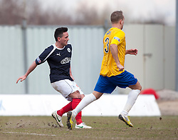 Falkirk's Sean Higgins scoring their fourth goal..Falkirk 4 v 0 Cowdenbeath, 6/4/2013..©Michael Schofield..