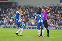 Football - 2021 / 2022 Premier League - Brighton & Hove Albion vs Leicester City - Amex Stadium - Sunday 19th September 2021<br /> <br /> Brighton players appeal to Referee Mr Stuart Attwell over the handball decision during the Premier League match at The Amex Stadium Brighton  <br /> <br /> COLORSPORT/Shaun Boggust