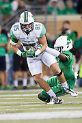Marshall Thundering Herd tight end Ryan Yurachek (85) tries to breaks free against the North Texas Mean Green during the 2nd half at Apogee Stadium in Denton, Texas on October 8, 2016. (Cooper Neill for The Herald-Dispatch)