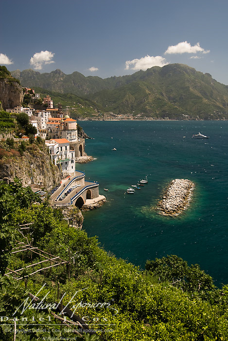 Looking down on to the rocky coast of Positano, italy