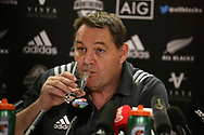 Steve Hansen, the Allblacks rugby team head coach announces his team to face Wales during the New Zealand rugby team announcement press conference at the Hilton Hotel in Cardiff , South Wales on Thursday 23rd November 2017.  the team are preparing for their Autumn International series test match against Wales in Cardiff this weekend.   pic by Andrew Orchard