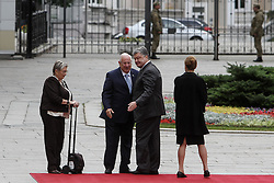September 27, 2016 - Kiev, Ukraine - President of Ukraine Petro Poroshenko (2nd R) with The First Lady Maryna Poroshenko (1st R) meets President of Israel Reuven Rivlin (2nd L) and his wife Nechama Rivlin (1st L) during the first state visit to Ukraine, September 27, 2016. President of Israel Reuven Rivlin visits Ukraine for the first state visit. (Credit Image: © Sergii Kharchenko/NurPhoto via ZUMA Press)