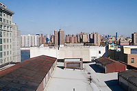 View of Manhattan skyline from DUMBO Brooklyn rooftop New York