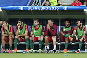 Portugal Forward Cristiano Ronaldo on the bench with knee strapped during the Euro 2016 final between Portugal and France at Stade de France, Saint-Denis, Paris, France on 10 July 2016. Photo by Phil Duncan.