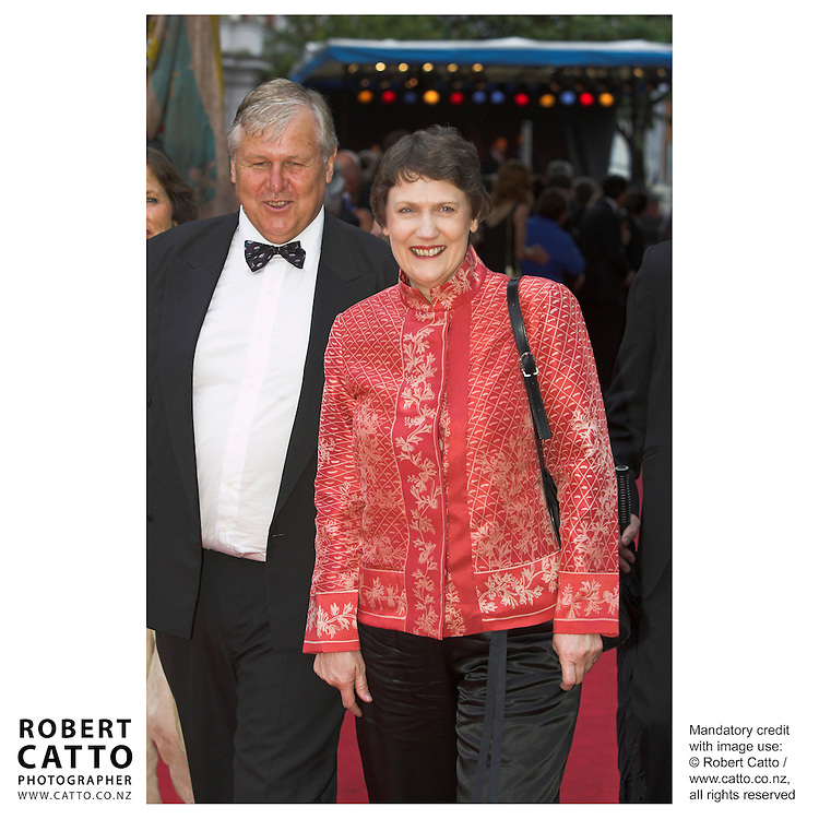 Producer Don Reynolds and Prime Minister Helen Clark arrive at the premiere of the film River Queen, in Wanganui, New Zealand.