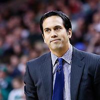 27 January 2013: Miami Heat head coach Erik Spoelstra is seen during the Boston Celtics 100-98  2OT victory over the Miami Heat at the TD Garden, Boston, Massachusetts, USA.