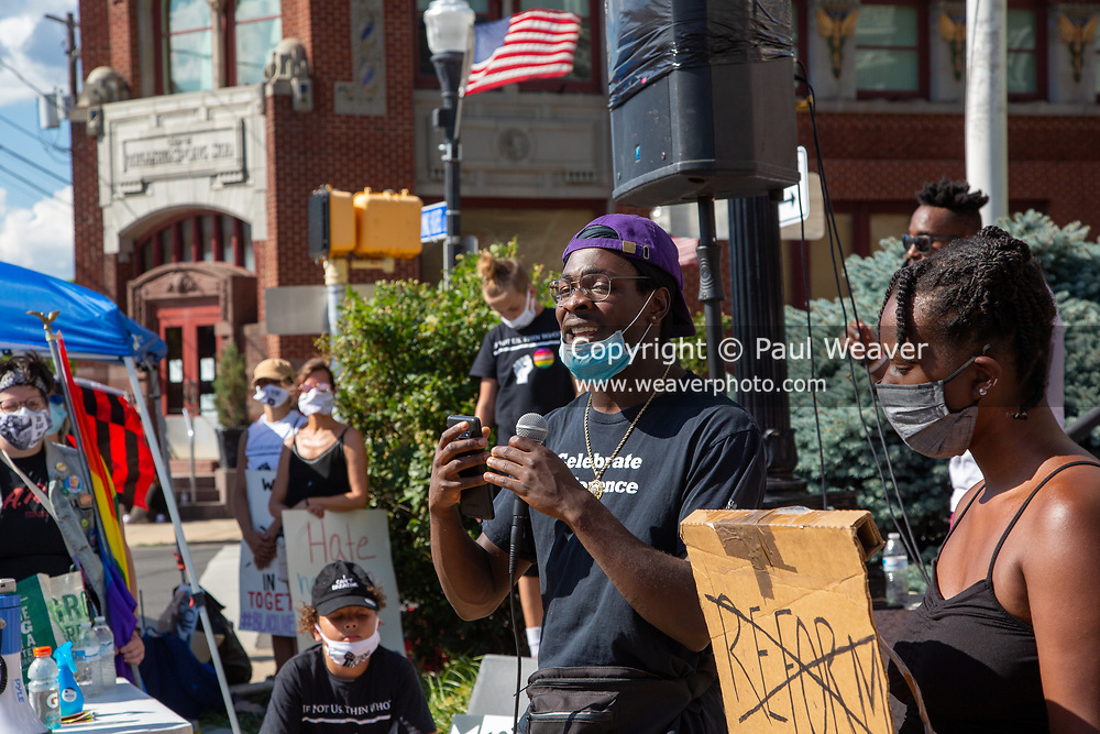 """Atakora speaks during a Black Lives Matter protest at Williamsport City Hall. About 200 people attended the event which was co-sponsored by """"If Not Us, Then Who?"""" and the Lycoming Tri-County NAACP."""