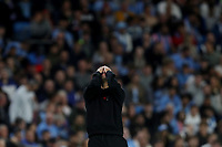 Football - 2021 / 2022 UEFA Champions League - Group A, Round One - Manchester City vs RB Leipzig - Etihad Stadium - Wednesday, 15th September 2021<br /> <br /> Reaction from Manchester City manager Josep Guardiola