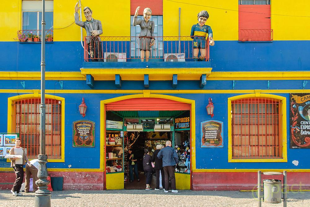 "Papier mache figures of Juan Eva Peron and ""Diego"" Maradona in La Boca Buenos Aires Argentina South America > test2"
