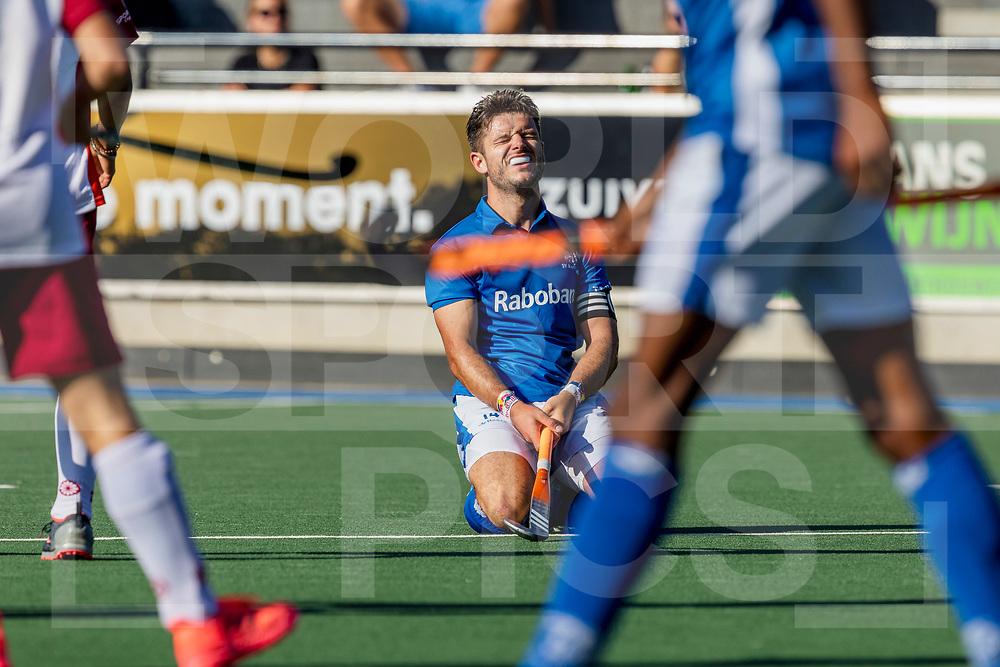 UTRECHT -  Hockey TULP Hoofdklasse Heren: Kampong v Almere (11-0), seizoen 2020-2021.<br /> Foto: Robbert Kemperman (Kampong, captain) gevloerd <br /> WORLDSPORTPICS COPYRIGHT Bert van der Toorn