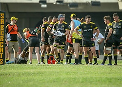 May 26, 2018 - Houston, TX, U.S. - HOUSTON, TX - MAY 26:  Houston SaberCats take a water break during the Major League Rugby match between the Utah Warriors and Houston SaberCats on May 26, 2018 at Dyer Stadium in Houston, Texas.  (Photo by Leslie Plaza Johnson/Icon Sportswire) (Credit Image: © Leslie Plaza Johnson/Icon SMI via ZUMA Press)