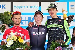 Radsport: 36. Bayern Rundfahrt 2015 / 3. Etappe, Selb - Ebern, 15.05.2015<br /> Cycling: 36th Tour of Bavaria 2015 / Stage 3, <br /> Selb - Ebern, 15.05.2015<br /> Siegerehrung - podium, <br /> # 22 Bouhanni, Nacer (FRA, Team COFIDIS, SOLUTIONS CREDITS), winner # 113 Bennett, Sam (IRL, Team BORA-ARGON 18), # 126 Navardauskas, Ramunas (LTU, TEAM CANNONDALE – GARMIN)