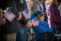 Frederick Miles listens to remarks during the American Legion Post 43 Veterans Day ceremony Monday at the Jackson Town Square. Miles was a fighter pilot in the U.S. Air Force during World War II.