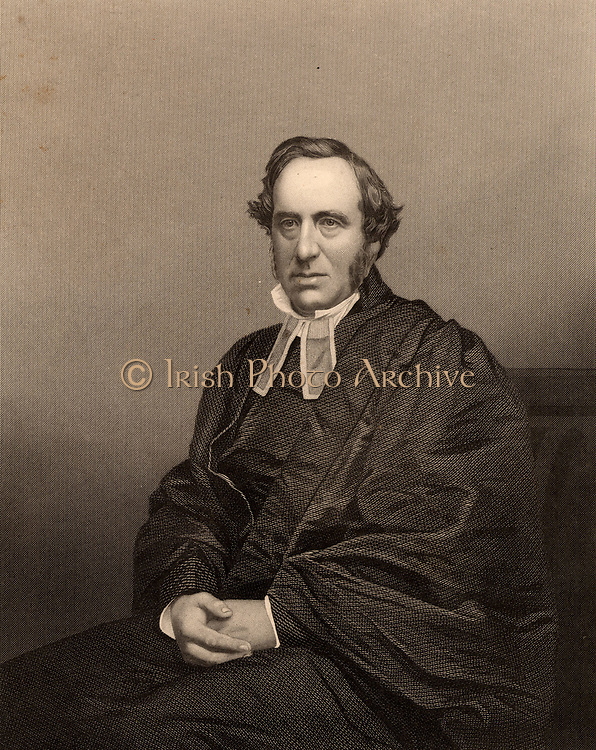 Richard Chenevix French (1807-1886).  Anglican clergyman born in Dublin. Dean of Westminster 1856-1863. Anglican Archbishop of Dublin 1863-1884. Engraving from 'The Illustrated News of the World' (London, c1860).
