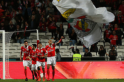 November 26, 2017 - Lisbon, Lisbon, Portugal - Benficas defender Luisao (R) from Brazil celebrating with is team mate after scoring a goal during the Premier League 2017/18 match between SL Benfica and FC Vitoria Setubal, at Luz Stadium in Lisbon on November 26, 2017. (Credit Image: © Dpi/NurPhoto via ZUMA Press)