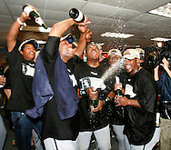 CHICAGO - OCTOBER 16:  The Chicago White Sox celebrate after winning Game 5 of the American League Championship Series against the Los Angeles Angels of Anaheim at Angels Stadium on October 16, 2005 in Anaheim, California.  The White Sox defeated the Angels 6-3 to become American League Champions and advance to the World Series for the first time since 1959.