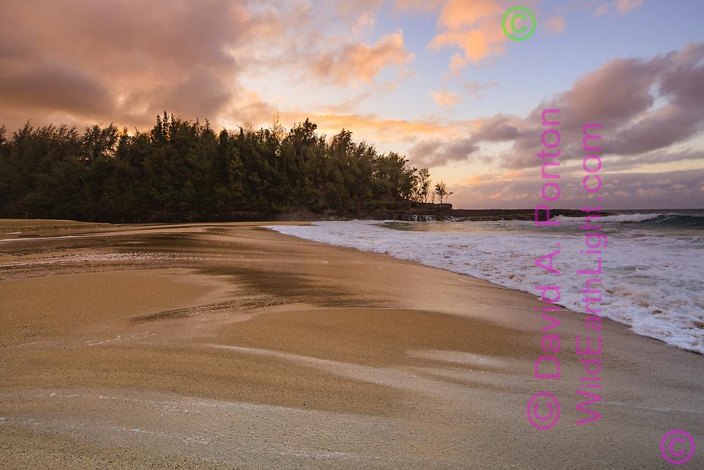 Sunset over Lumaha'i Beach, Kauai, Hawaii, © David A. Ponton