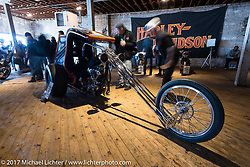 JP Rodman's late 60's style Harley-Davidson Knucklehead trike at the Mama Tried Bike Show. Milwaukee, WI, USA. Saturday, February 18, 2017. Photography ©2017 Michael Lichter.