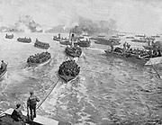 Russo-Japanese War 1904-1905:  Japanese naval brigade landing under Russian fire at Pitsewo.