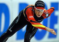 Skøyter: Verdenscup Heerenveen 12.01.2002. Annie Friesinger, Tyskland.<br /><br />Foto: Ronald Hoogendoorn, Digitalsport