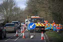 © Licensed to London News Pictures. 11/02/2020. Chalfont St Giles, UK. Traffic backed up near Chalfont St Giles in Bucks, due to ongoing work for the planned HS2 (High Speed 2) railway, which government plans to push ahead with. Photo credit: Ben Cawthra/LNP