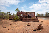 Entrance sign to Kakadu National Park in Australia's Northern Territory