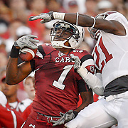 South Carolina's Alshon Jeffery pulls in a one-handed, bicep catch in front of Alabama in Columbia, S.C. ©Travis Bell Photography