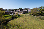 Aerial view of the fields and countryside surrounding the tourist attraction and Heritage site Hamptonne Museum in St Lawrence, Jersey, CI