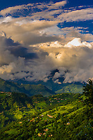 Looking down on the lush Pokhara Valley, in the western region of Nepal.