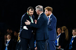 Australia Head Coach Michael Cheika is commiserated by World Rugby President Bernard Lapasset after New Zealand win the match 34-17 to become 2015 World Cup Champions - Mandatory byline: Rogan Thomson/JMP - 07966 386802 - 31/10/2015 - RUGBY UNION - Twickenham Stadium - London, England - New Zealand v Australia - Rugby World Cup 2015 FINAL.