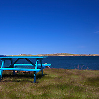 North America, Canada, Nova Scotia, Guysborough County. Picnic table on Eastern Shore of Nova Scotia.