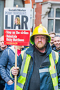 The Fire Brigades Union holds a protest rally and marc.  Stating at Methodist Central Hall and then heading for Parliament. They are demanding a farer pension settlement and a rethink of the increased retirement age. They accuse Penny Mordaunt, the minister responsible, of lieing to them about the changes and their impact. Westminster London, UK 25 Feb 2015.