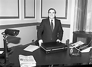 Minister for Finance, Gene Fitzgerald. (N59)..1981..28.01.1981..01.28.1981..28th January 1981..Minister for Finance, Gene Fitzgerald, is seen preparing for the delivery of his budget to Dáil Éireann..Images show the Minister with the trade mark case which contains the budget.
