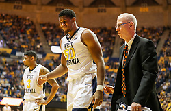 Jan 9, 2018; Morgantown, WV, USA; West Virginia Mountaineers forward Sagaba Konate (50) walks off the floor after an injury during the first half against the Baylor Bears at WVU Coliseum. Mandatory Credit: Ben Queen-USA TODAY Sports